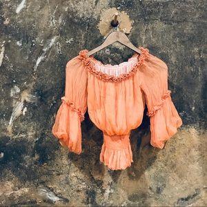 Georgina orange silk gathered bell sleeve top